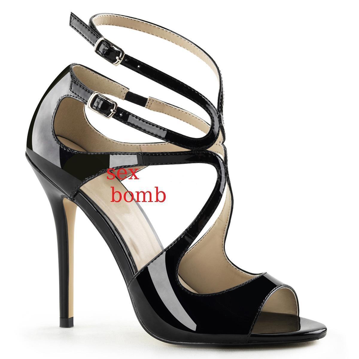 Sexy SANDALI tacco 13 NEOR LUCIDO dal 35 al 46 doppio cinturino scarpe GLAMOUR