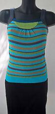Top à bretelles rayé turquoise EROTOKRITOS tricot Taille XS Bon état