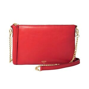 FOSSIL SYDNEY TOP ZIP CHAIN RED LEATHER HANDBAG SHOULDER CROSS BODY ... dabcb0ab9dfa5
