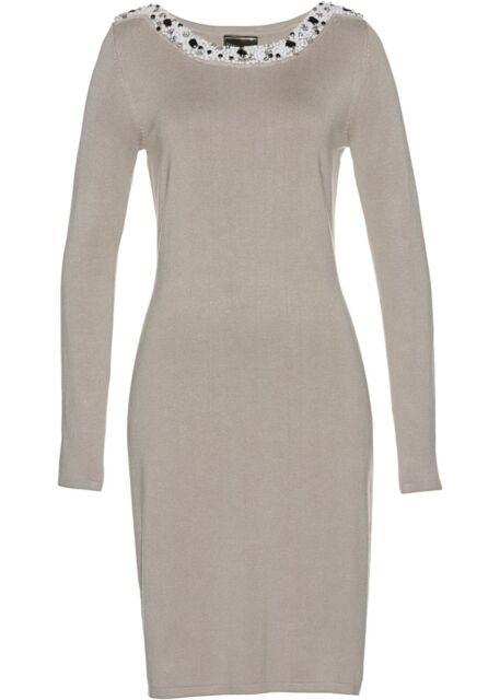 Strickkleid Kleid Damenkleid Stiefelkleid Strick elegant Perlen Strass 48 50