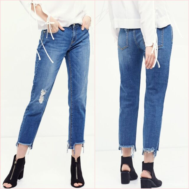 f853f2034e0 Zara Sis Stradivarius Mid Blue Ripped Crop Straight Jeans Size 10 US 6  Blogger ❤