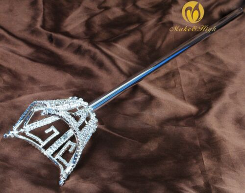 Crown Style Scepters Wand Handmade Crystal Parade Pageant Party Costumes Sceptre