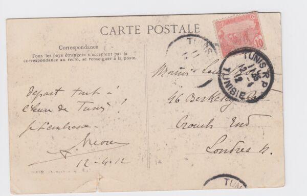 1912 Tunisie-tunis à Crouch End Carte Postale Carthage Damous El Karita