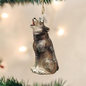 OLD WORLD CHRISTMAS HOWLING WOLF GLASS CHRISTMAS ORNAMENT 12163