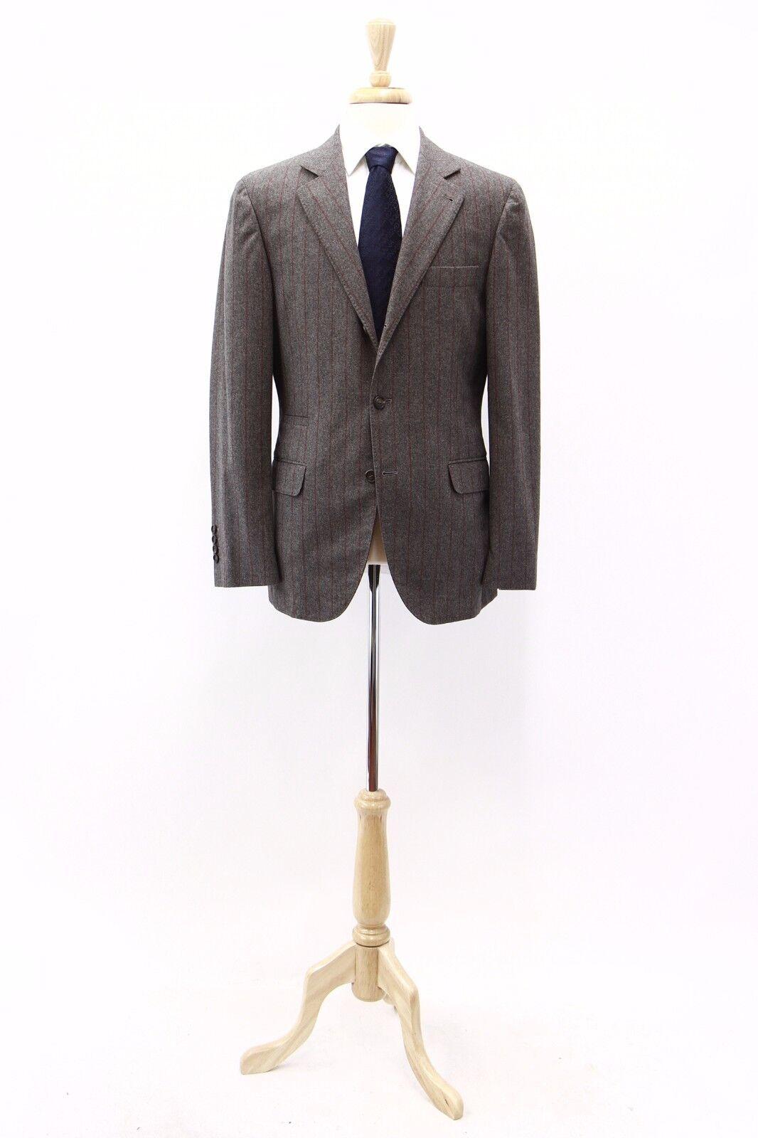 NWT Brunello Cucinelli Mens Cashmere-Wool 2Tone Chalk Stripe Blazer 50 40US