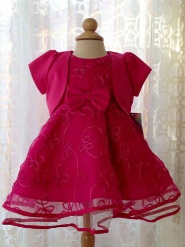 Fuchsia Hot Pink Bolero Infant Baby Organza Flower Girl Dress 6M 9M 12M 18M 24M