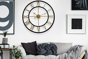 Black-amp-Gold-Roman-Numerial-Wall-Clock-76cm-Home-Decoration-Decal-Living-Room
