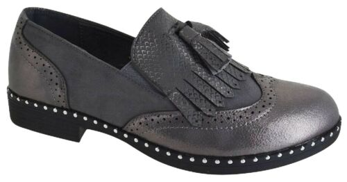 LADIES WOMENS TASSEL BROGUE SLIP ON NEW LOAFERS STUDDED OFFICE PUMPS SHOES SIZE