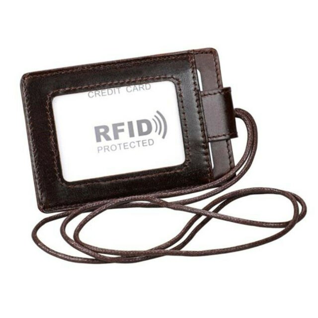 badge holder with 3 card holder 1 side RFID blocking genuine leahter with lanyar