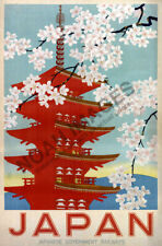 1950s Japan Cherry Blossoms Vintage Style Japanese Railway Travel Poster 16x24