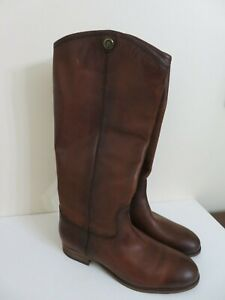 FRYE-MELISSA-BUTTON-2-COGNAC-LEATHER-TALL-BOOTS-NEW-7-NEW