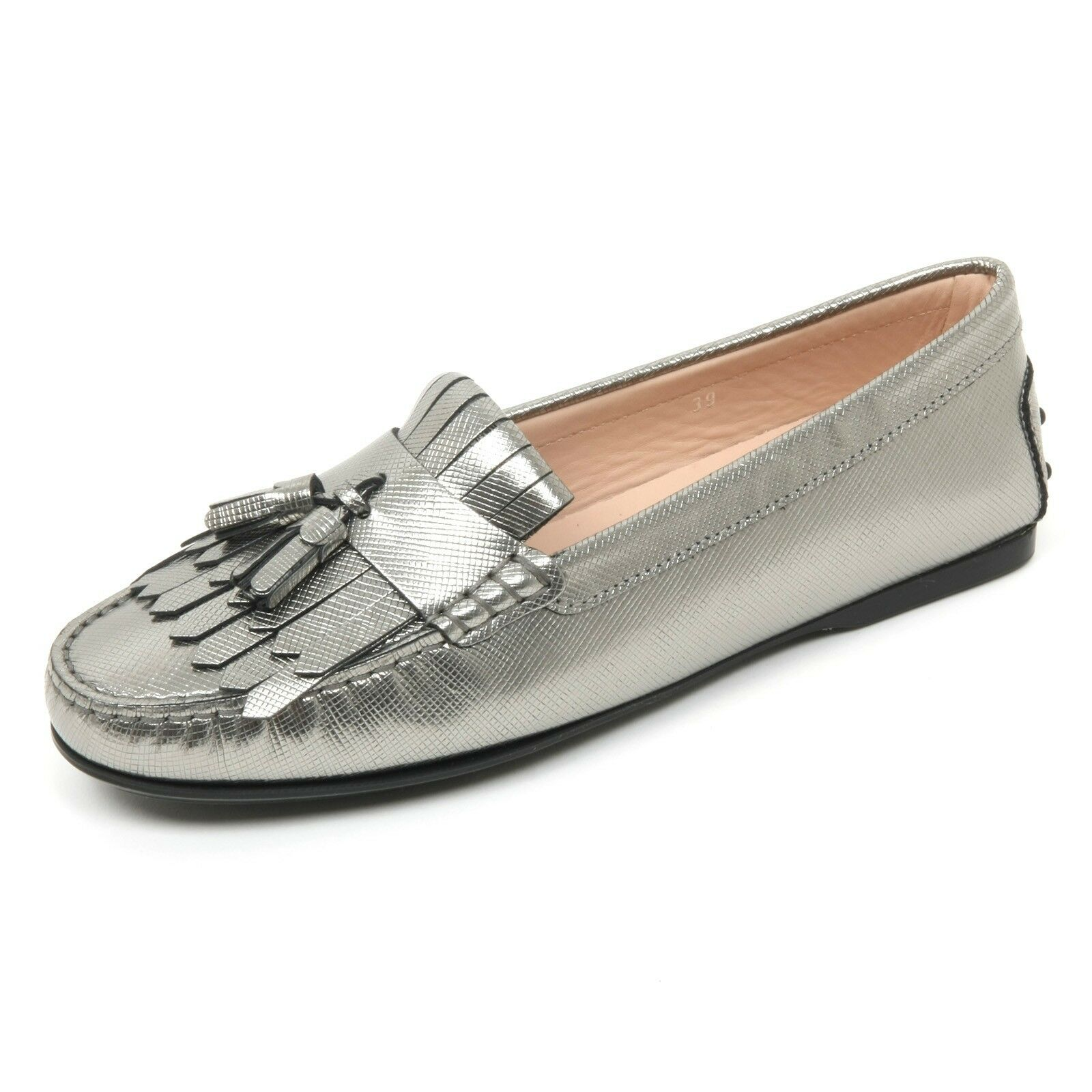 B9626 mocassino donna TOD'S scarpa frangia nappine grigio loafer shoe woman