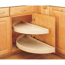 Brown 2-Tier Shelf Set Plastic Half Moon Blind Corner 32-in H Cabinet Lazy Susan