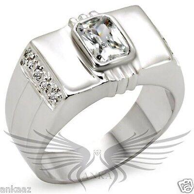 Men's Rhodium Plated AAA Grade Cubic Zircon CZ Ring 8 9 10 11 12 13 34523
