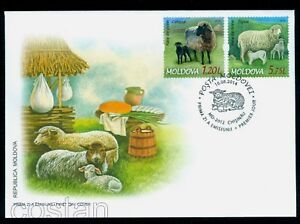 Details about 2014 Sheep  Breeds,Karakul,Tigaie,Lamb,Cheese,Bread,Milk,Food,Moldova,Mi 877,FDC