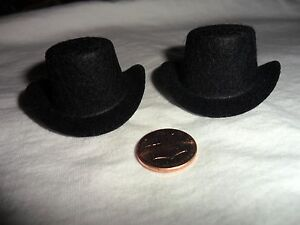 "2 Black Felt Top Hats 1"" x 2"" made in the USA"