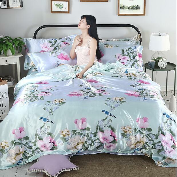4pcs Ice Silk Duvet Cover Sets Pillowcase Sheet King Bedding Floral Flower Pink