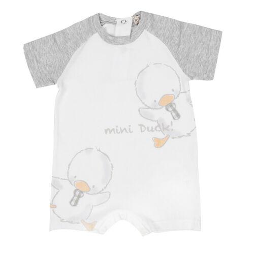 EMC Spieler Jungen Baby Jumpsuit Strampler Body mini DUCK Weiß Gr 56 62 68 NeU