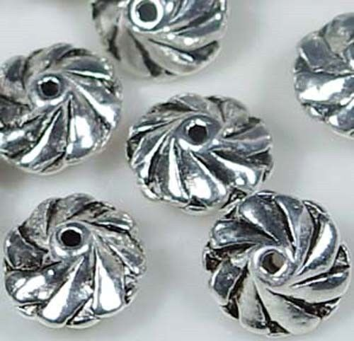 10 Pewter Swirl Spacer Beads 11x7mm ~ Lead free ~