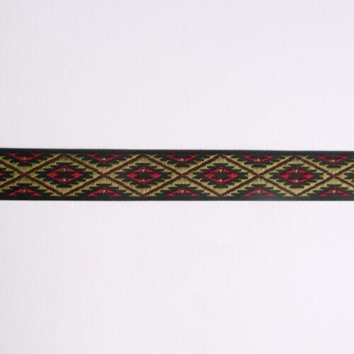 Red Green Grey Brown Blue Black Aztec Tribal Contrast Jacquard Ribbon 15mm