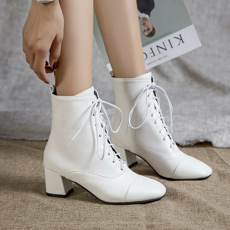 Womens Fashion Square Toe Lace Up Ankle Boots Block Mid Heel Shoes Casual Party