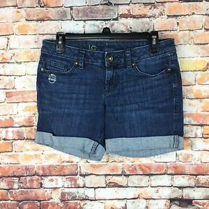 Lauren-Conrad-Womens-Size-2-Cuffed-Dark-Wash-Denim-Bermuda-Shorts