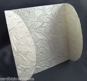 Wedding Invitation Petal Wraps (20) Embossed Floral Metallic Pearl ...