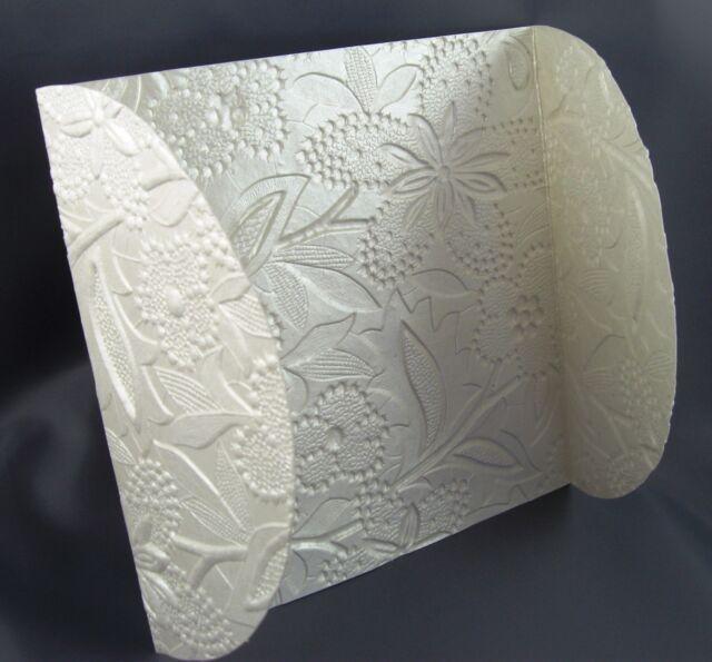 Wedding Invitation Petal Wraps (20) Embossed Floral Metallic Pearl  DIY  New