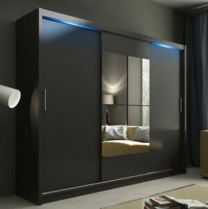 Wardrobe Kola 01 250 Sliding Doors Mirror Hanging Rail