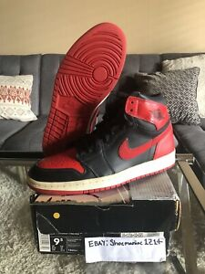 wholesale dealer 82e07 333af Details about 2001 Air Jordan 1 Retro Banned Bred Rookie Vintage 9.5 Royal  OG I Nike 2016 1985