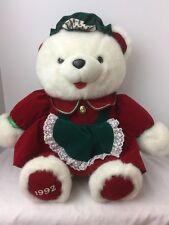 "22"" VINTAGE 1986 1992 KMART CHRISTMAS GIRL WHITE TEDDY BEAR STUFFED ANIMAL PLUSH"