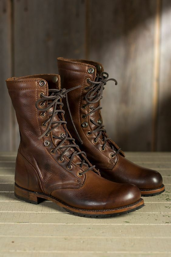 Handmade Men brown Military boots, Men brown high ankle combat boots, Men boots