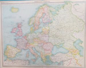 Map Of Europe 1922.Map Of Europe 1922 Uk Russia Italy Germany France Ebay