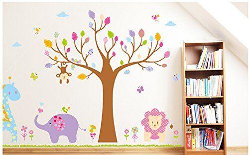 Large Jungle Animals Wall Sticker Nursery Wall Stickers Kids Nursery Decals