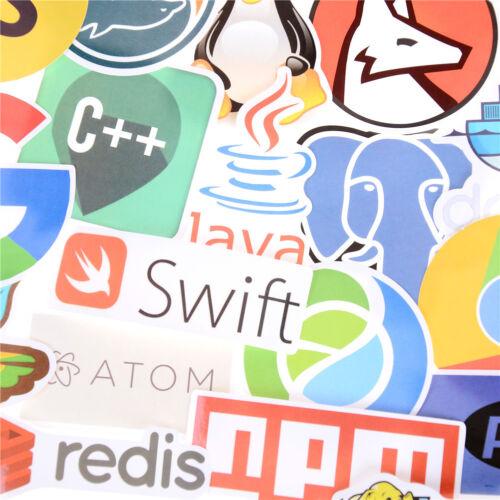 50Pcs Internet Java JS Programming Language Doodle Stickers For Laptop CarDIYSw