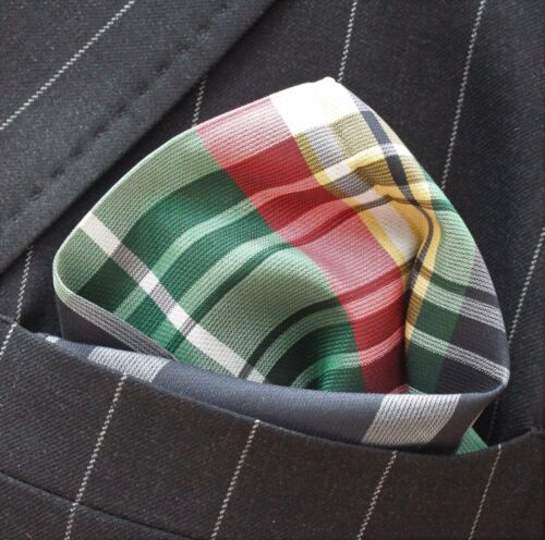 Hankie Pocket Square Handkerchief Black Green Pink Yellow WhiteTartan