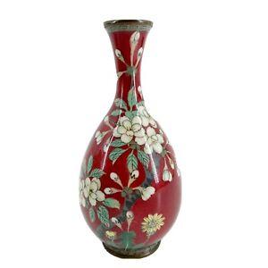 Fine-Antique-Chinese-Cloisonne-Vase-Red-amp-White-Flowers-Enamel-Brass-Republic-Pd