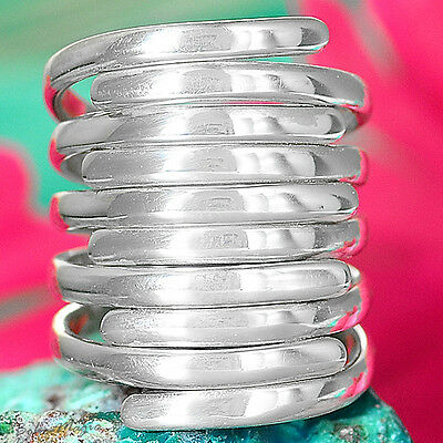 Solid Sterling Silver 925 Ring Adjustable Size Jewelry Wrap Wide Band Oversize
