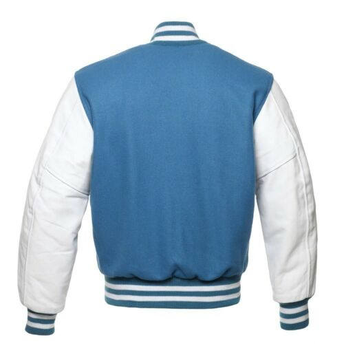 Details about  /Black//Red//Pink//Maroon//Blue// Wool Varsity Bomber Jackets White Real Leather Arms