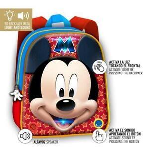 Mochila 3D Mickey Disney luz sonido 32cm