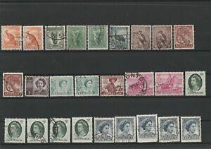 Prezioso lot FRANCOBOLLI Australia a partire dal 1950 timbrato 26 valori