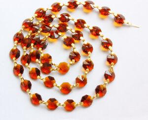 3ft Crystal 14MM Octagon Prisms Wedding Garland Brass Chain Chandelier Part