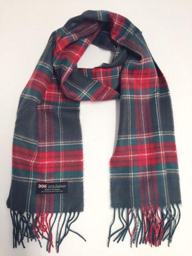NEW Men Women 100/%CASHMERE SCARF Scotland Soft Wool Wrap Plaid Gray Red Green