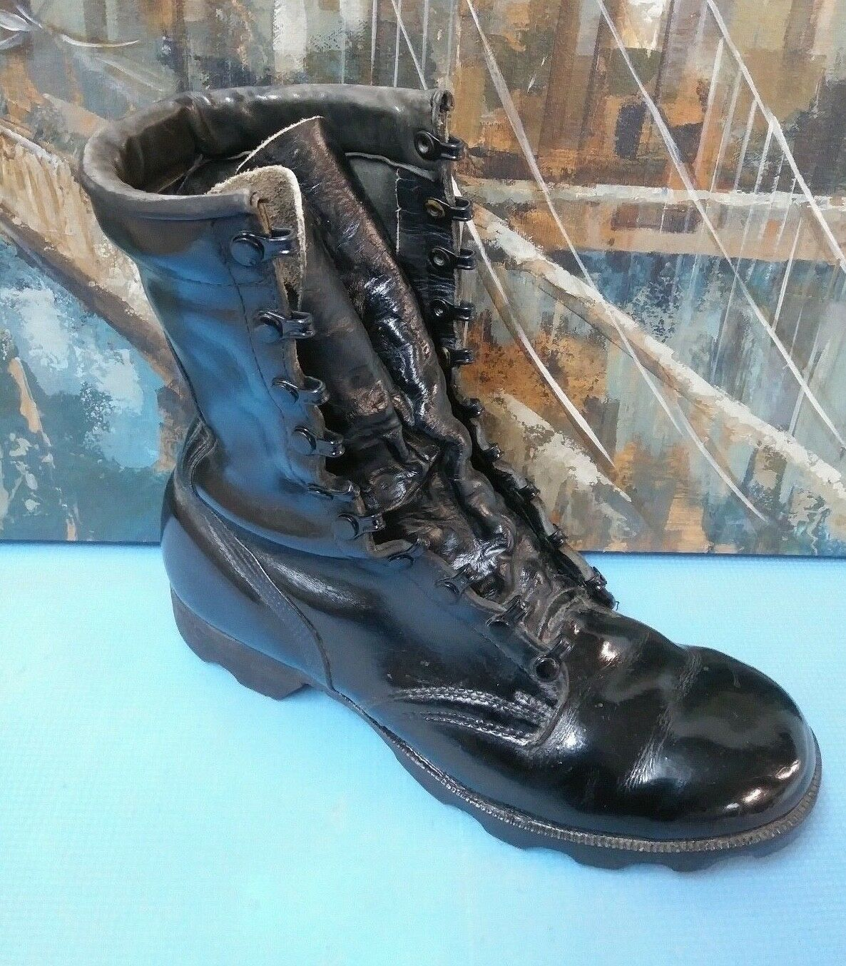 RO SEARCH Vintage Black Leather Military Army Combat Boots Men's Size 11.5 R