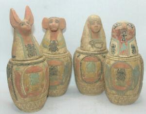 RARE ANCIENT EGYPTIAN ANTIQUE 4 CANOPIC Jars Mummification 1751-1687 BC