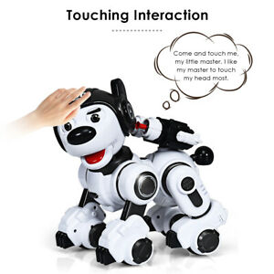 RC Robotic Dog Interactive Puppy Toy Programmable Robot Kid Birthday Gift Black