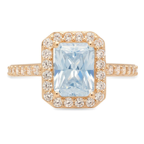 Details about  /2.07 ct Emerald Halo Blue CZ Statement Engagement Wedding Ring 14k Yellow Gold