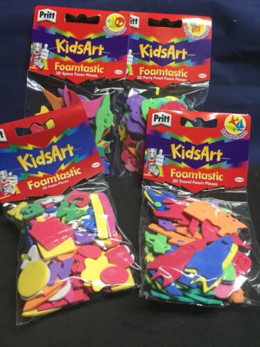4 Packs Pritt Foam Craft Shapes Assorted Colours /& Sizes Kids Childrens EVA Bulk