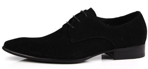 New Men/'s Suede Dress shoes Real Leather Formal shoes Lace up Black W8153