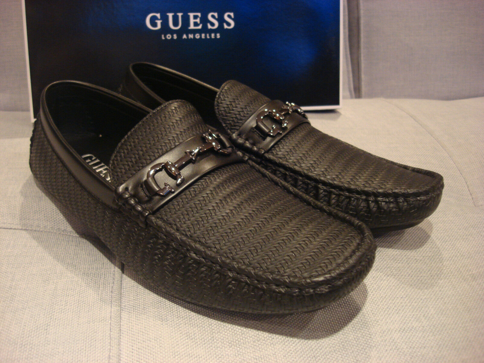 GUESS MENS ADLERS BLACK SHOES LOAFERS SIZE 10.5 - BRAND NEW